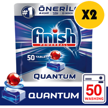 Finish Quantum 50x2 100 Tablet Dishwasher Detergent Provides Superior Cleaning and Shine on Dishes