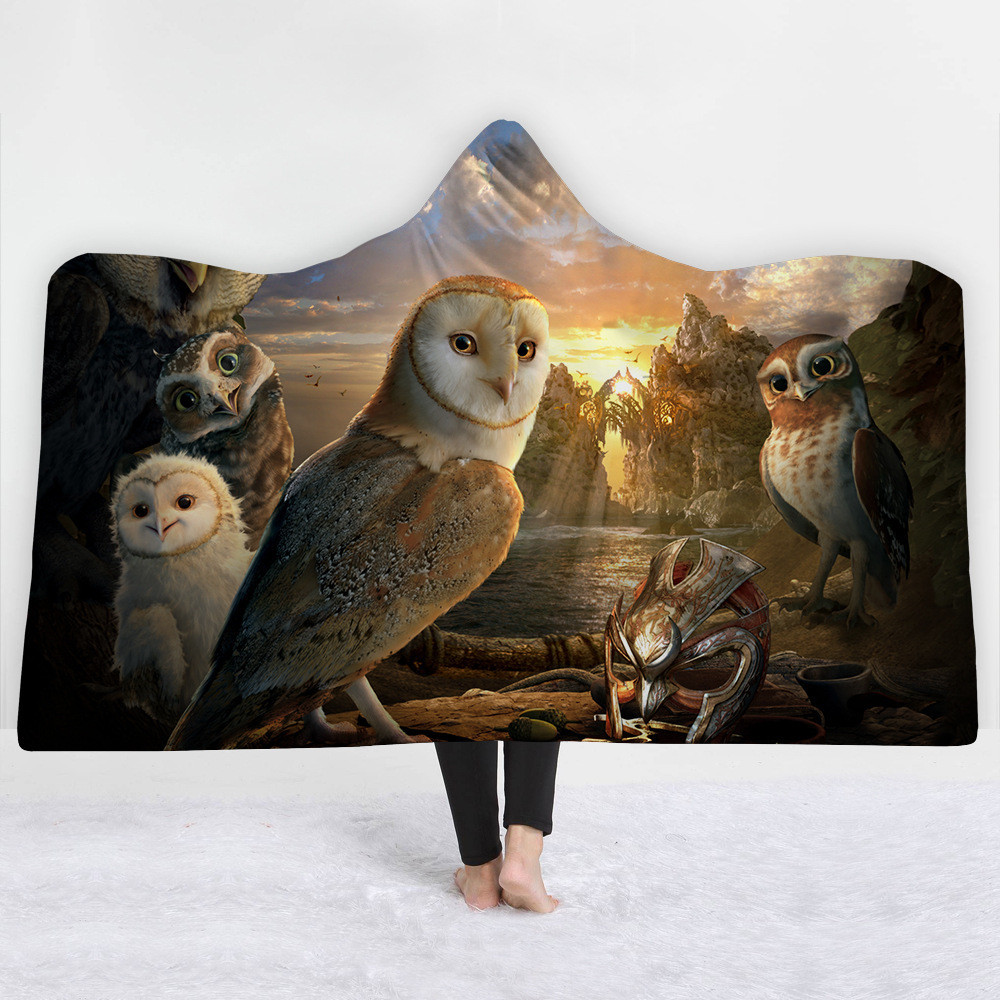 Owl-Printed-Hooded-Blanket-Coral-Fleece-Sherpa-Plush-High-Quality-Microfiber-Fabric-Throw-Blankets-Wearable-Travel