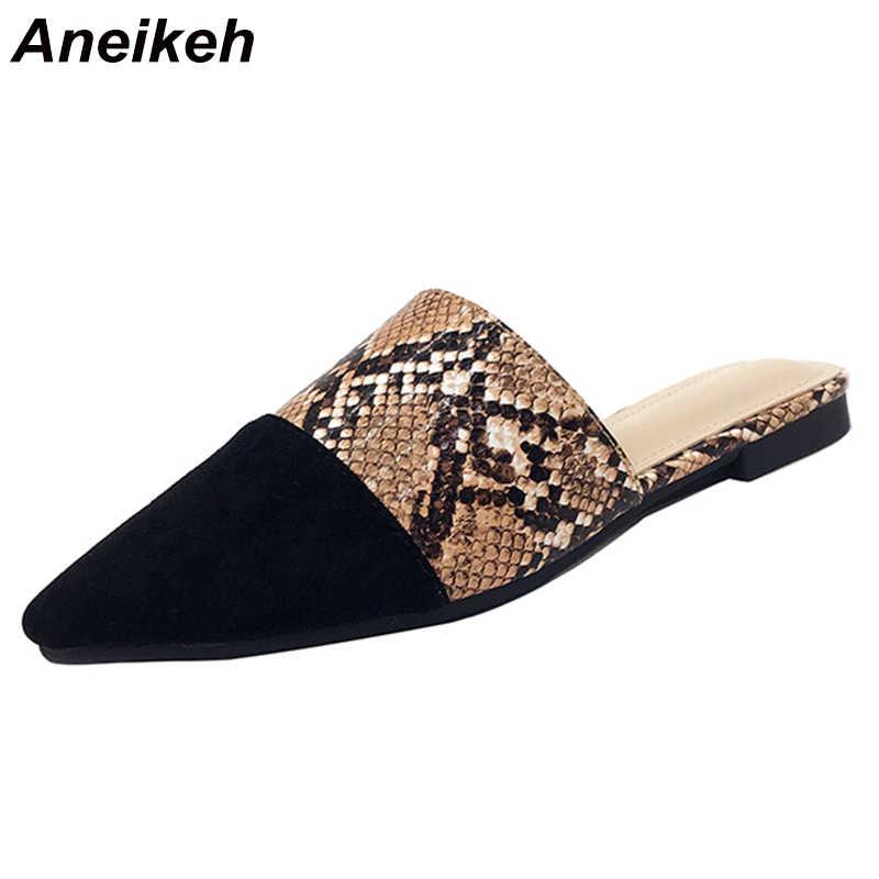Aneikeh 2020 Seksi Serpantin Flats Kadınlar Sivri Burun Slip-on Moda Zarif Rahat Serpantin Slingback kadın ayakkabısı Boyutu 42