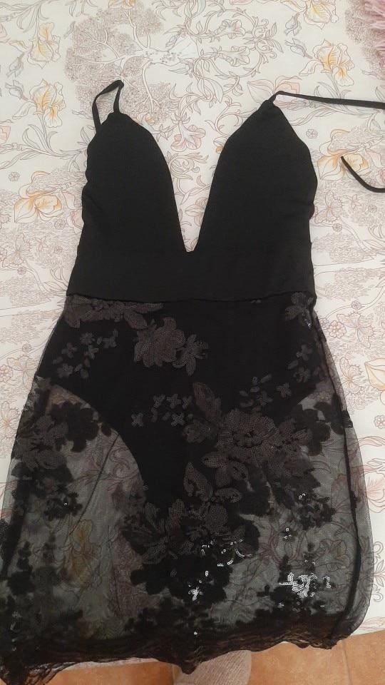 Black Floral Printed Sexy Lace Mesh Mini Dress Women Ladies Deep V Neck Bodycon Evening Party Pencil Dress reviews №1 509857