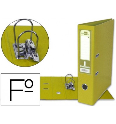 LEVER ARCH FILE LEADERPAPER FOLIO DOCUMENTS PVC SHEATHED WITH RADO LOMO 75MM YELLOW COMPRESSOR METAL