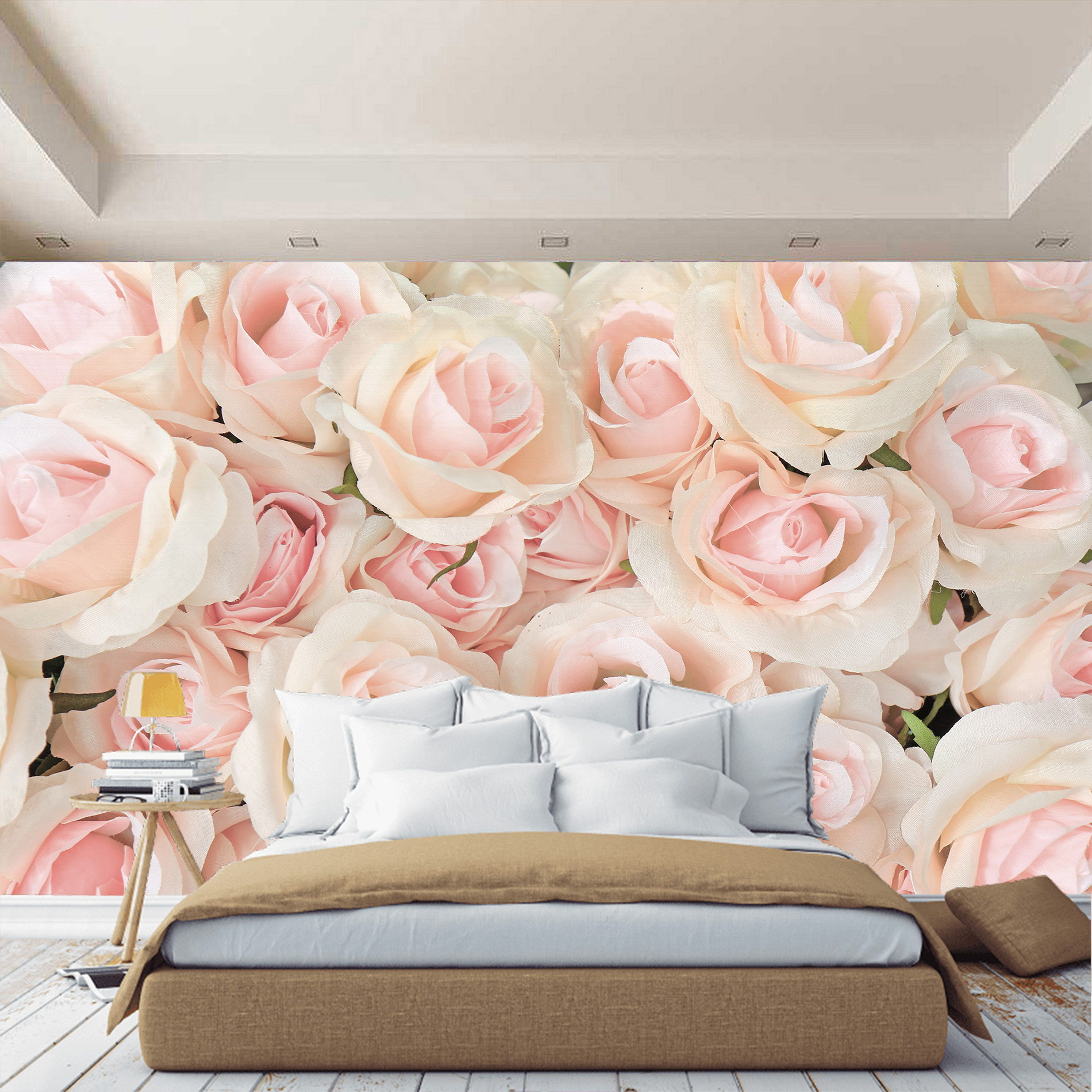 Wall Mural Roses Stereoscopic Flowers. 3D Wall Mural In Bedroom, Hall, In House.