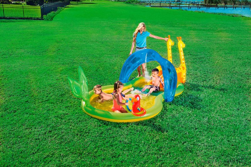 Bestway Inflatable Pool Child With Slide Zoo-53060