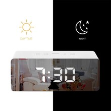 LED Mirror Alarm Clock Digital Snooze Table Light Electronic Large Time Temperature Display Home Decoration