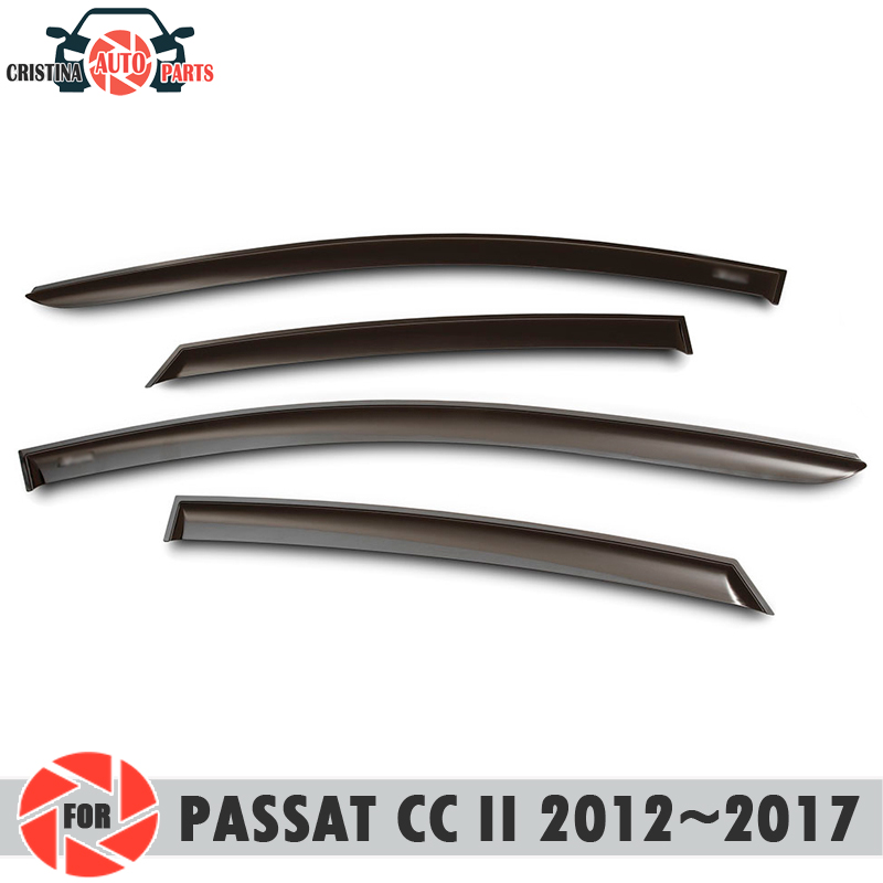 Window deflector for Volkswagen Passat CC II 2012~2017 rain deflector dirt protection car styling decoration accessories molding дефлекторы на окна voron glass corsar volkswagen passat cc ii 2012 н в комплект 4шт def00648