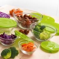 مجموعة من 5 علب لحمل الغذاء الزجاج Eh|صناديق الغداء|   -