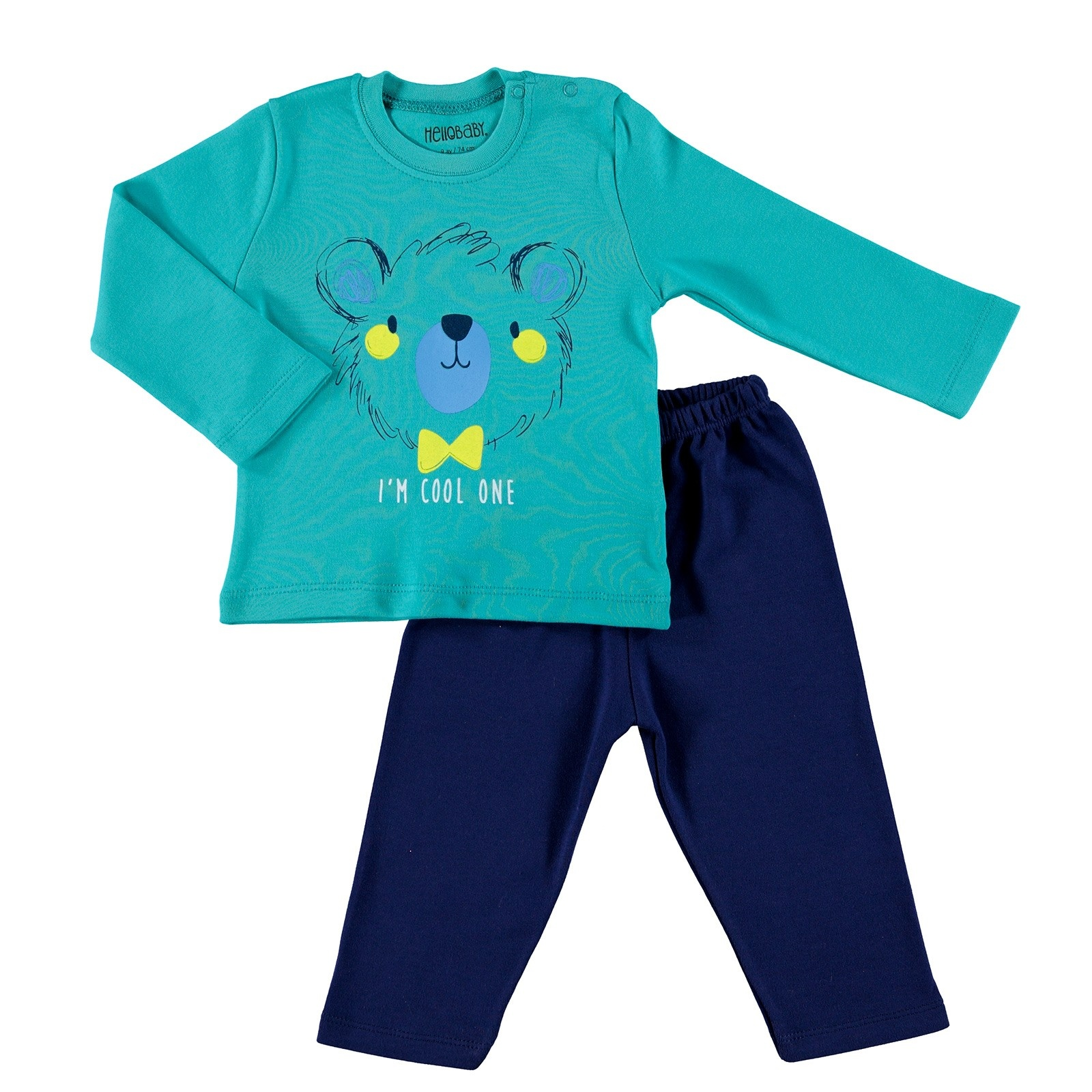 Ebebek HelloBaby Printed Interlock Long Sleeve Ribbed Snap Neck Single Baby Pajama Set