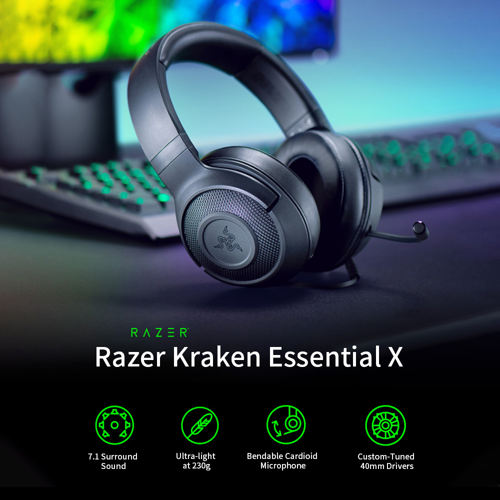 Razer Kraken X Ultralight Headphone Noise Over-Ear wired Gaming Headset Analog 3.5 mm jack 7.1 Surround Sound with Mic, Xbox,PS4 1