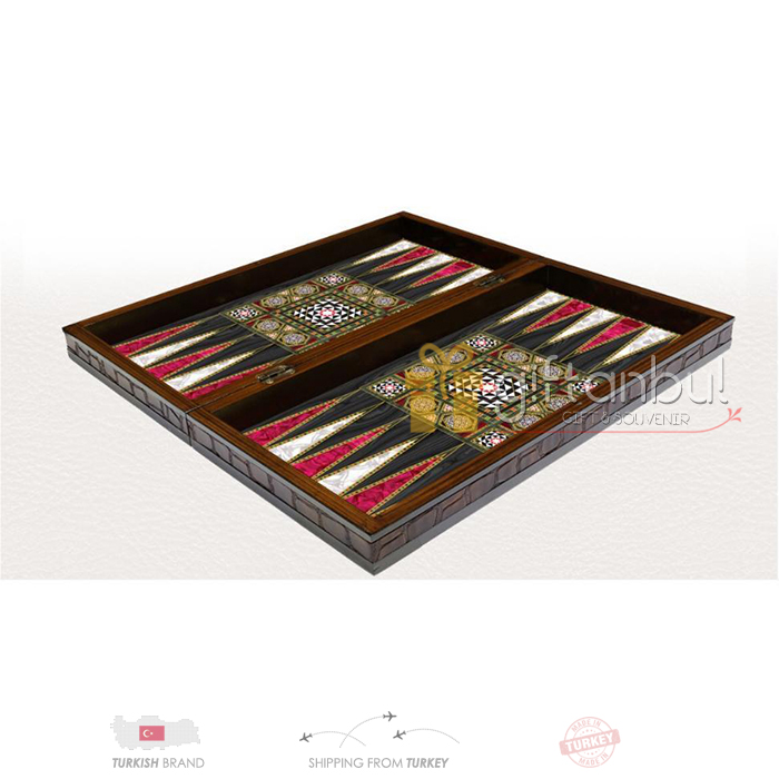 MOTHER OF PEARL BACKGAMMON SET Trendy Wooden Backgammon Set, Family Board Games, Leather Backgammon Sets