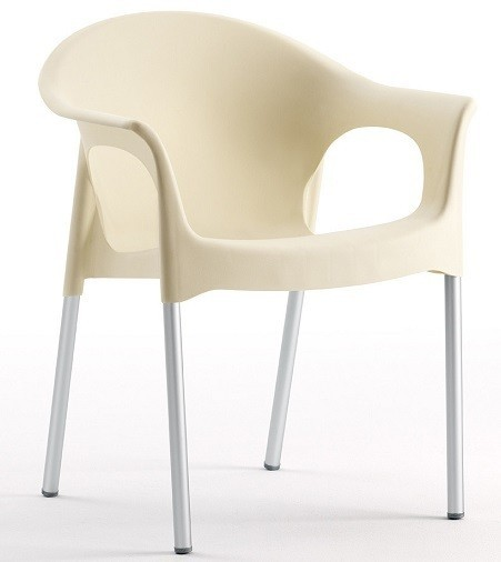Armchair NILE Aluminum Stackable Polypropylene Beige