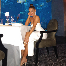 цена на Adyce 2020 New Summer White Bandage Dress Women Sexy Strapless Sleeveless Maxi Bodycon Club Dress Celebrity Evening Party Dress