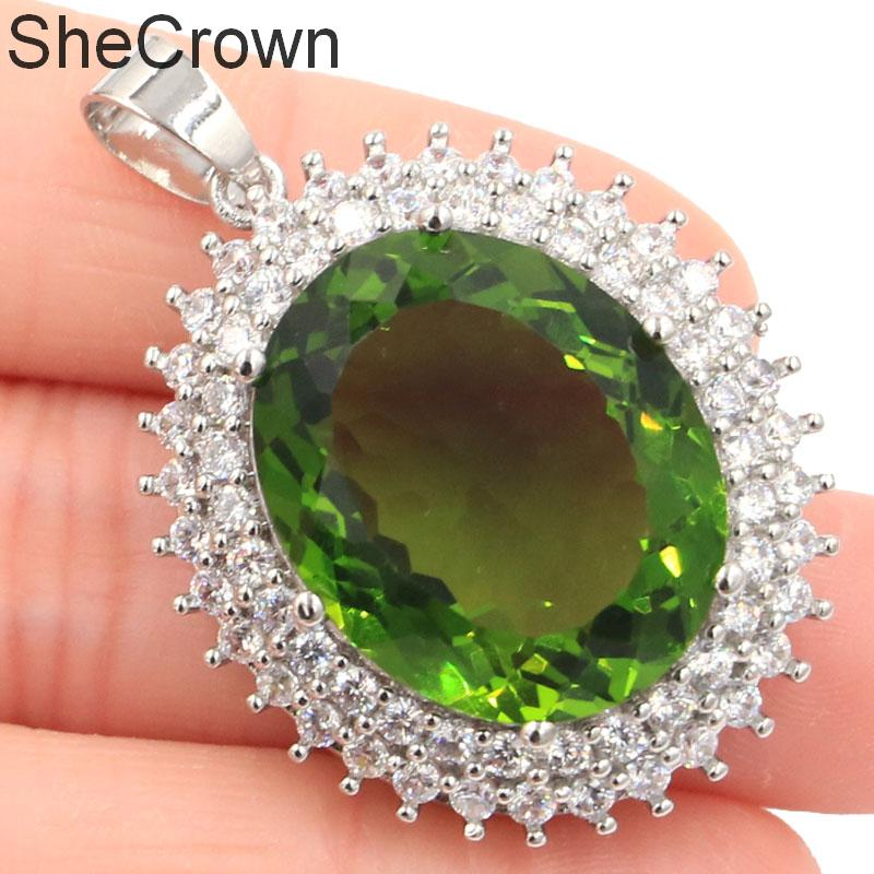 39x28mm 12g Big Oval Gemstone 22x18mm Green Peridot White CZ Party Ladies Silver Pendant