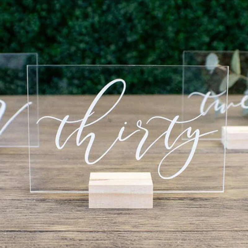 5inchx5 5inchCustom Wedding Table Numbers Sign Clear Acrylic Table Number with Wood Stand Personalized Modern Wedding Party Decoration