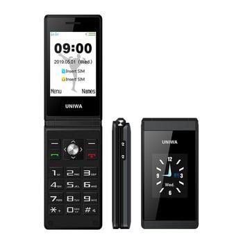 UNIWA X28 Senior Flip phone 2G GSM Dual SIM unlocked mobile screen Russian Hebrew Keyboard Clamshell Cell Phone - discount item  20% OFF Mobile Phones