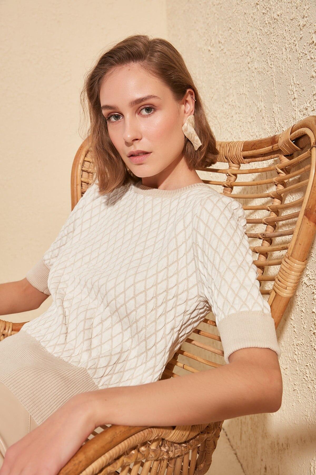Trendyol Mesh Detailed Knitwear Sweater TWOSS20KZ0064