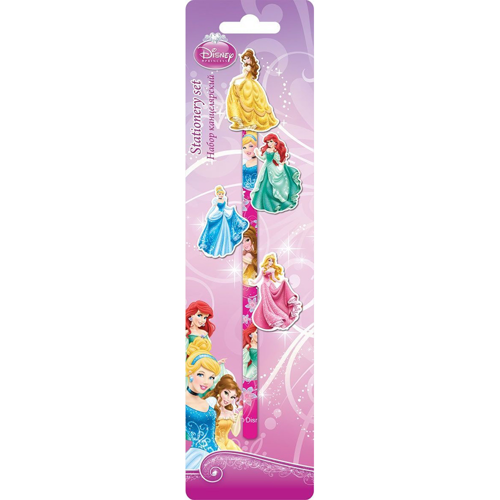 Set stationery Disney Princess pencil and 4 eraser in blister card princess snap