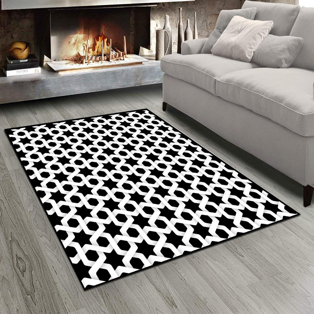 Else Black White Ethnic Morrocan Star Design  3d Print Non Slip Microfiber Living Room Modern Carpet Washable Area Rug Mat
