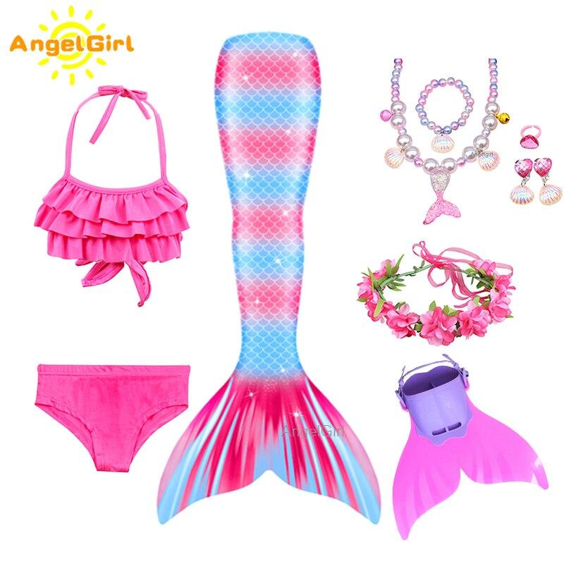 AngelGirl yaz kızlar plaj mayo kıyafeti Mermaid kuyruk prenses elbise Cosplay kostüm Monofin ile çocuk çocuk fantezi Bikini