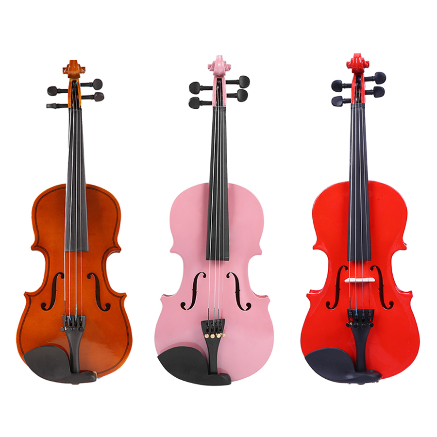 1/8 Size Violin Gloss Tricolor Natural Acoustic Fiddle With Case Bow Rosin Musical Instrument For Beginner Music Lover Training