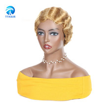 TTHAIR Natural Brazilian Remy Human Hair Short Pixie Cut Finger Wave Wigs For Black Women