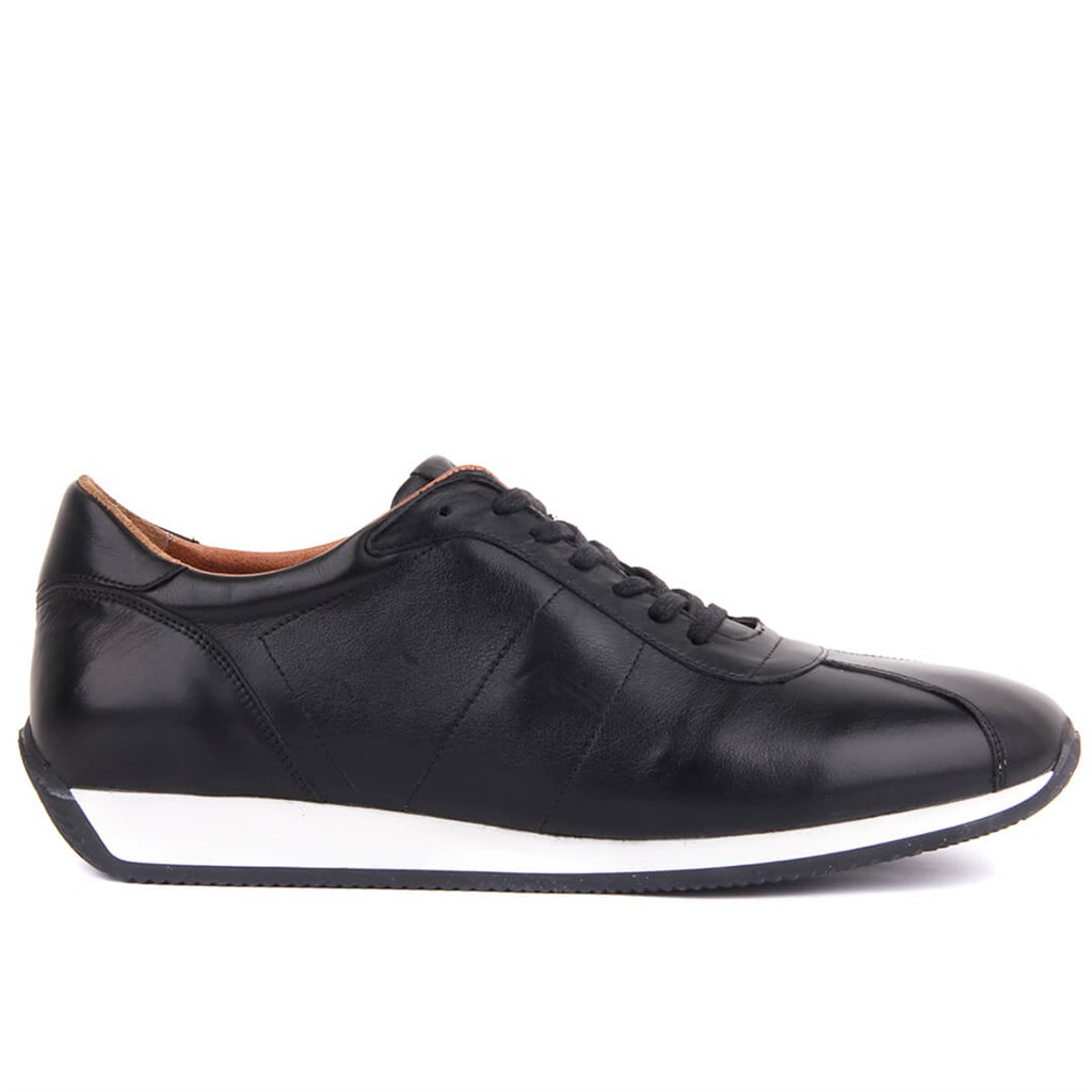 Sail Lakers-Genuine Leather Black Men Casual Shoes