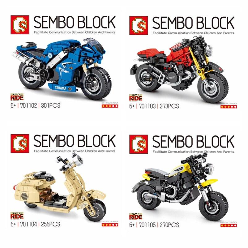 IN STOCK SEMBO MOC Technic Series Street Racing Car 701102 701103 701104 701105 Motorcycle Building Blocks Bricks Boy Toys Gifts
