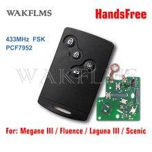 433mhz pcf7952a chip smart card remoto carro chave fob para renault megane 3 laguna 3 fluência cênica 2008-2016 keyless handsfree