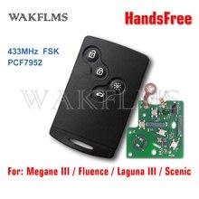 433mhz pcf7952a chip smart card remoto carro chave fob para renault megane 3 laguna 3 fluência cênica 2008 2016 keyless handsfree
