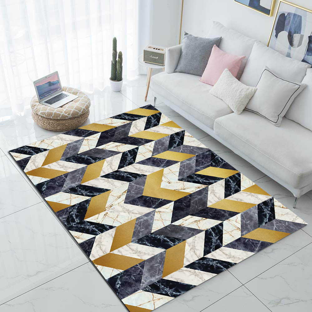 Else Yellow Gray White Marble Arrows Geometric 3d Print Non Slip Microfiber Living Room Modern Carpet Washable Area Rug Mat