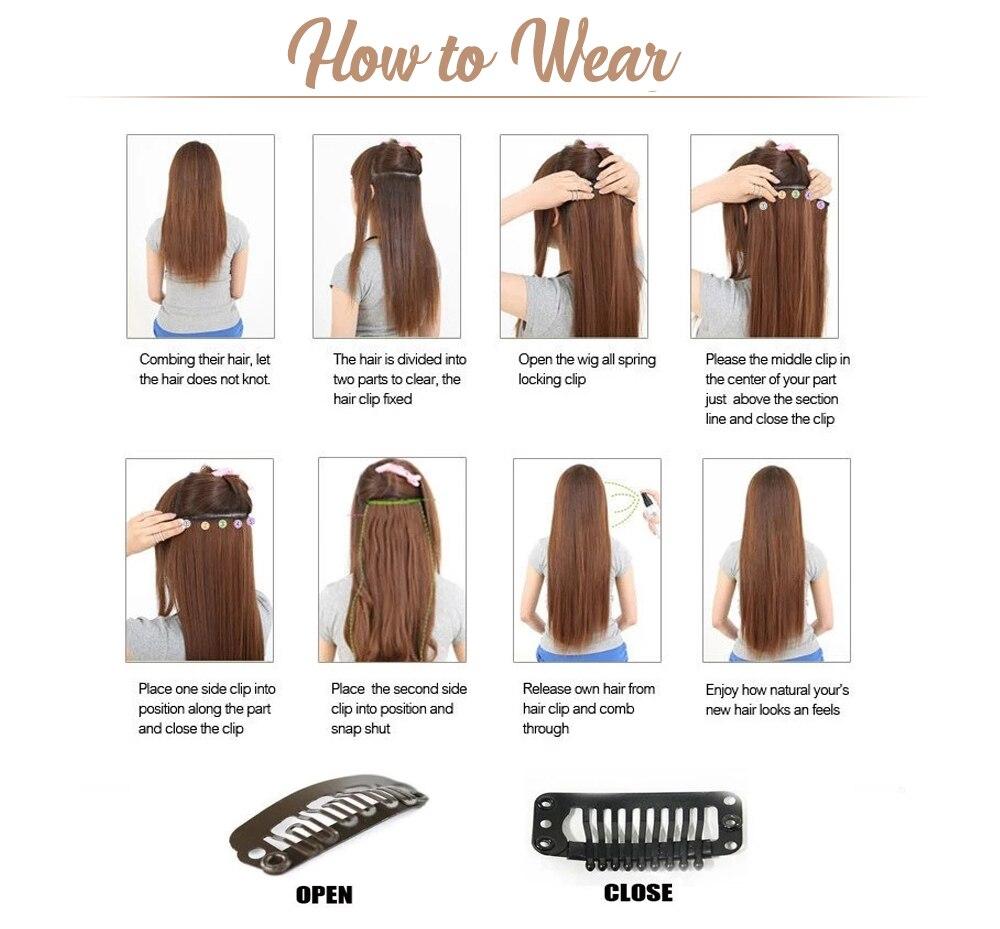 Ugeat grampo em extensões de cabelo cor