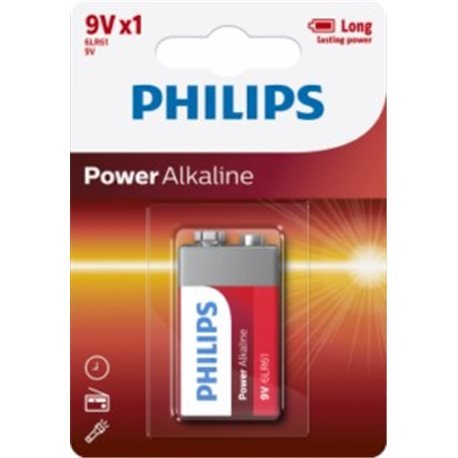 ALKALINE Battery 9V 6LR61 PHILIPS POWERLIFE 9 V-6LR61P1B/05 1