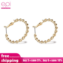 цена на EPI 1 Pair Gold Ring Earrings Round Circle Stainless Steel Hoop Earring For Women Female Fashion Jewelry 2019