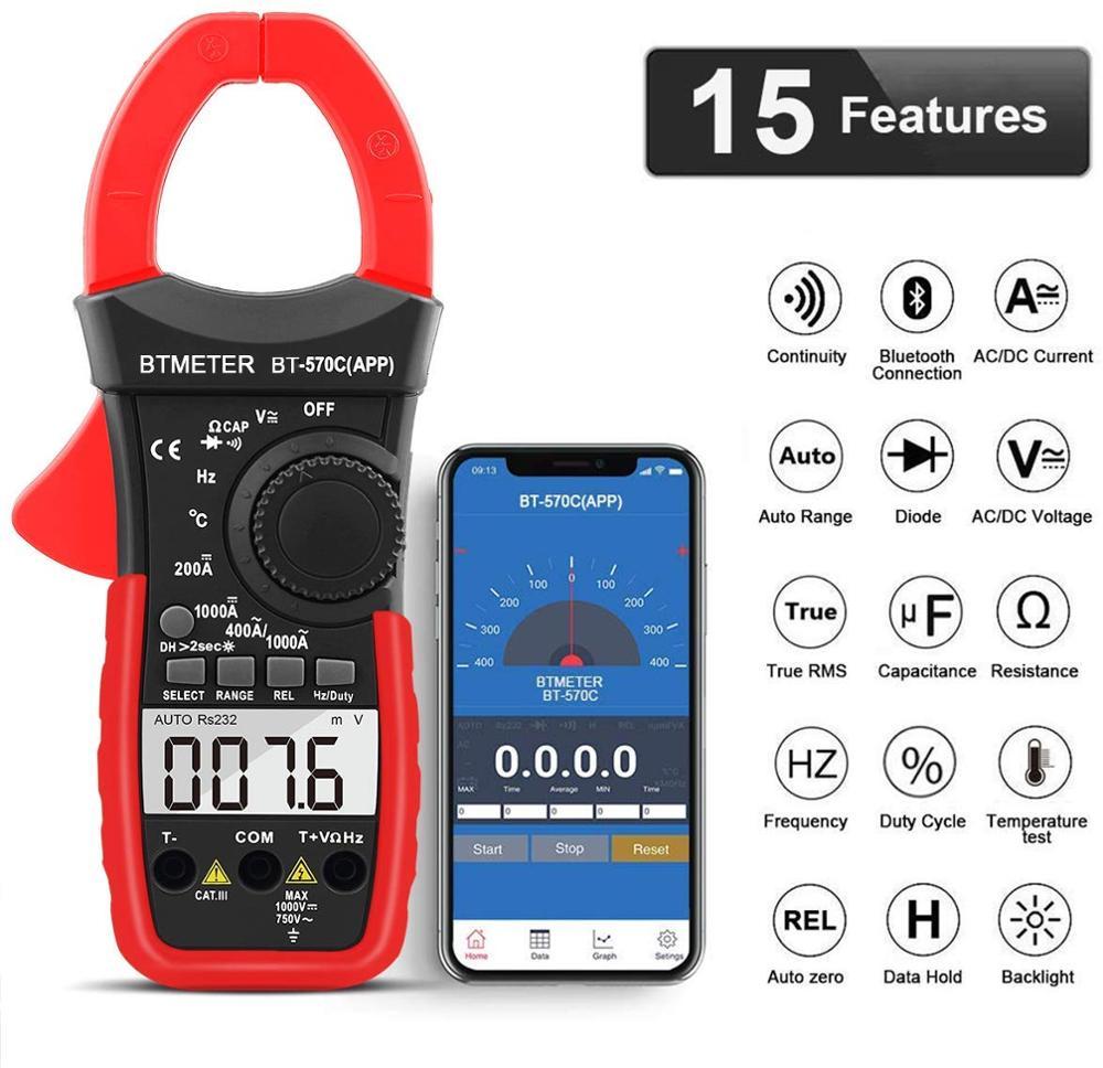 Цифровой мультиметр BTMETER с зажимом, Автоматический диапазон APP Bluetooth амперметр, сопротивление, температура, хранение данных для электрическ...