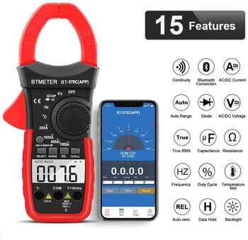 BTMETER Digital Clamp Multimeter,Auto-Ranging Bluetooth Amp Meter,Resistance,Temperature,Data Hold for Electrical HVAC Ammeter - DISCOUNT ITEM  0% OFF All Category
