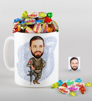 Personalized Soldier Caricature Of mug And Haribo Fruitbons Candy Gift Seti-2