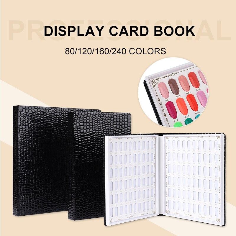 15 Sizes Nail Display Book Nail Tips Leather Cover Gel Polish Display Chart Nail Art Salon Tools With False Tips Showing Shelf