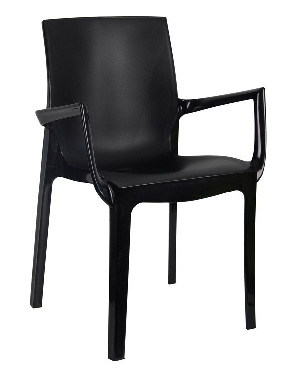 Armchair EMY, Stackable, Black Polypropylene