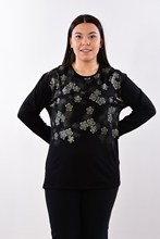 Women's Large Size Flower Print Black Blouse 504