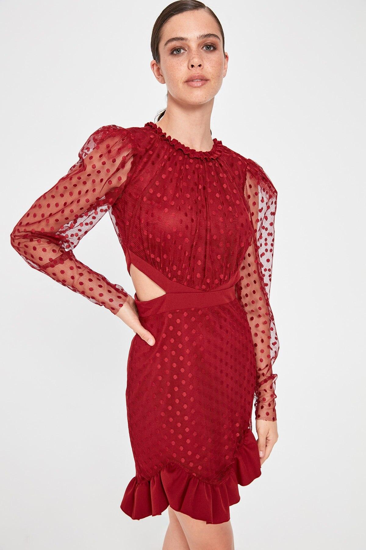 Trendyol Waist Low-Cut Polka Dot Dress TPRAW20EL1499
