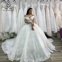 럭셔리 파란색 된 공주 웨딩 드레스 2020 Swanskirt Appliques 레이스 공 가운 환상 신부 맞춤 된 Vestido 드 Noiva XZ03