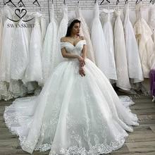 Lüks boncuklu düğün elbisesi 2020 aplikler Lace up prenses balo gelin özelleştirilmiş Swanskirt XZ03 artı boyutu Vestido de Noiva
