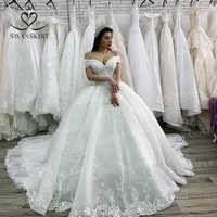Luxus Hochzeit Kleid 2019 Prinzessin Swanskirt Appliques Wulstige Spitze up Ballkleid Kapelle Zug Brautkleid Vestido de Noiva XZ03