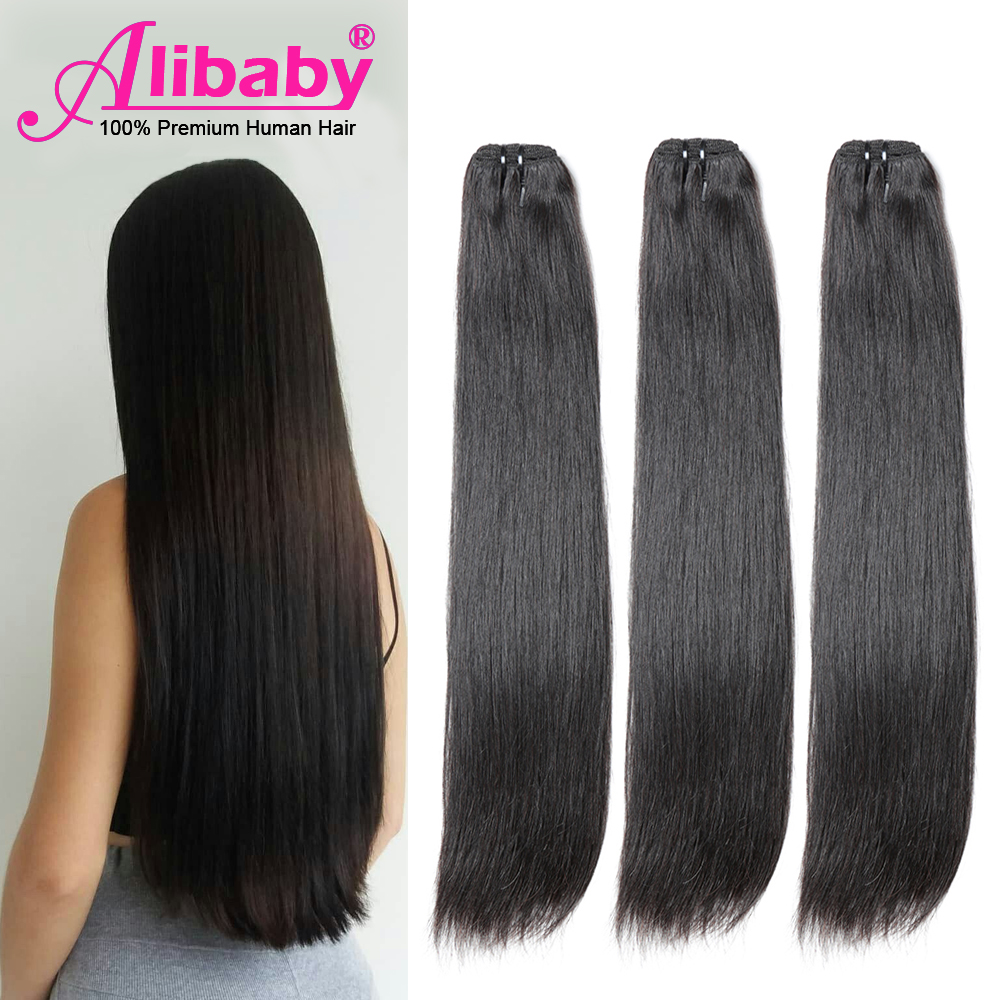 Alibaby Super Double Drawn Human Hair Bundles Brazilian Straight Virgin Hair Weave Bundles Natural Color Hair For Top Customer