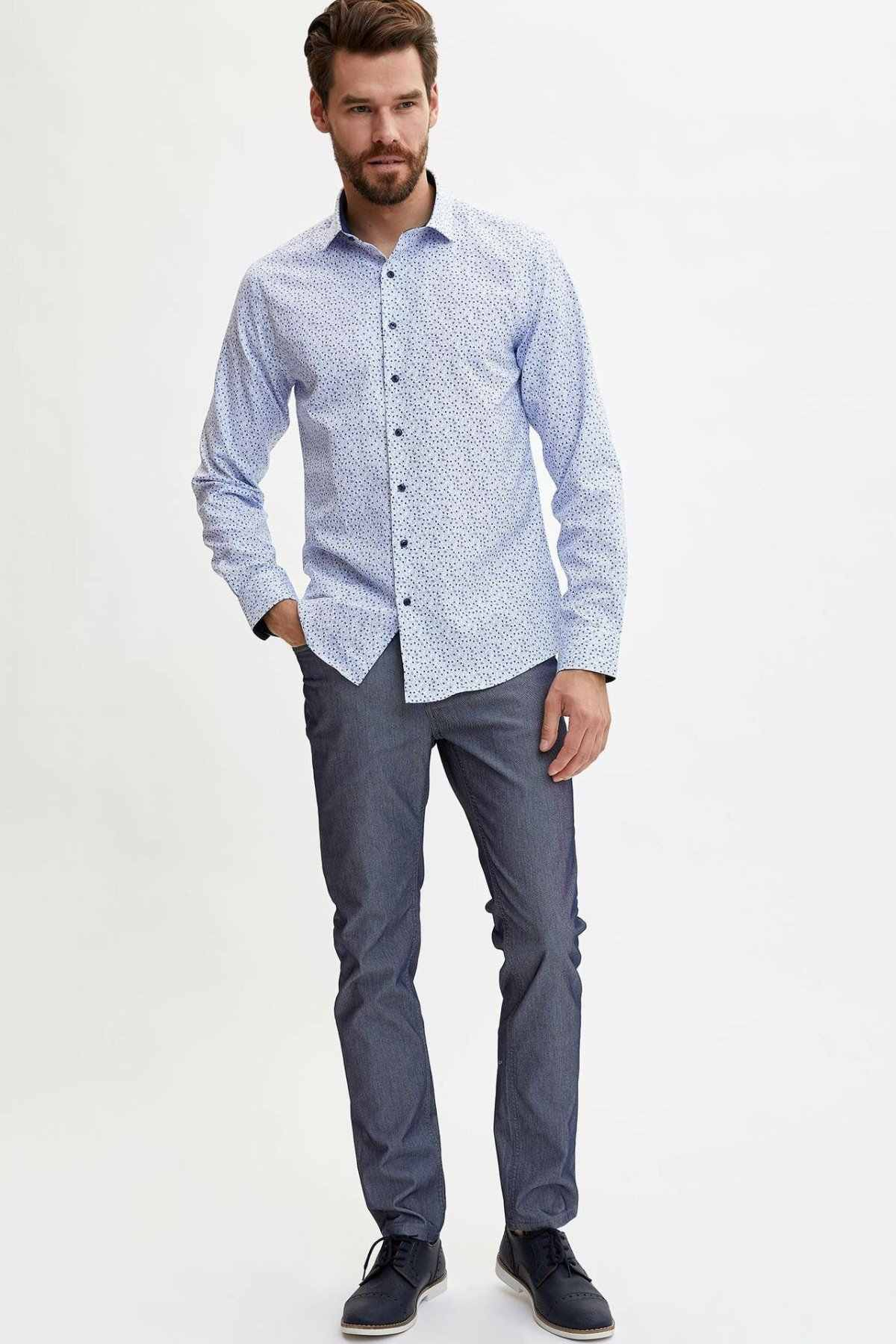 DeFacto גברים אופנה הדפסת דפוס חולצות ארוך שרוול חולצות Mens מזדמן דש צווארון מקרית חולצות החדש-L5901AZ19AU