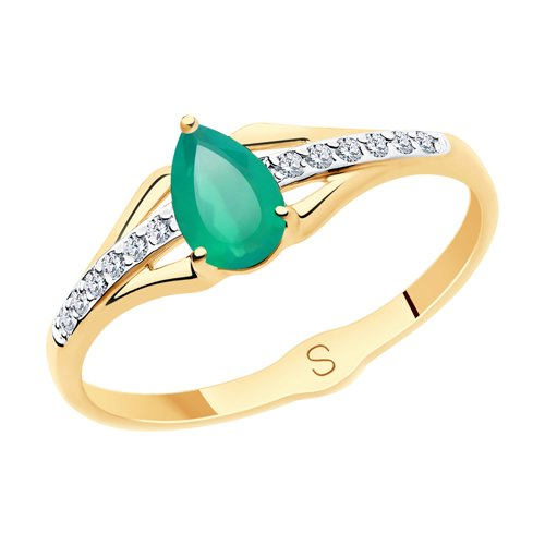 SOKOLOV Ring Gold With Agate And Rhinestone Beads