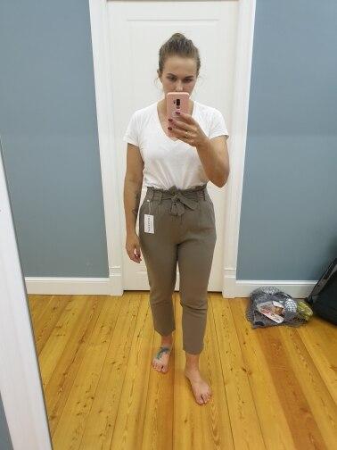 High Waist Sashes Women Suit Pants Pockets Ankle Length Pencil Pants Elegant Female Trousers Pantalon Femme photo review