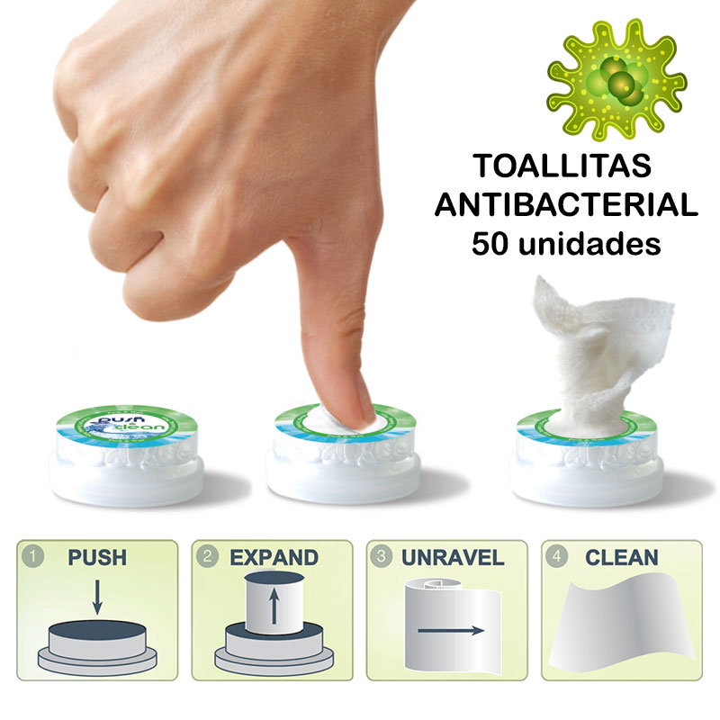 TOALLITAS DESINFECTANTES HIGIENIZANTES PUSH CLEAN 50 Uds