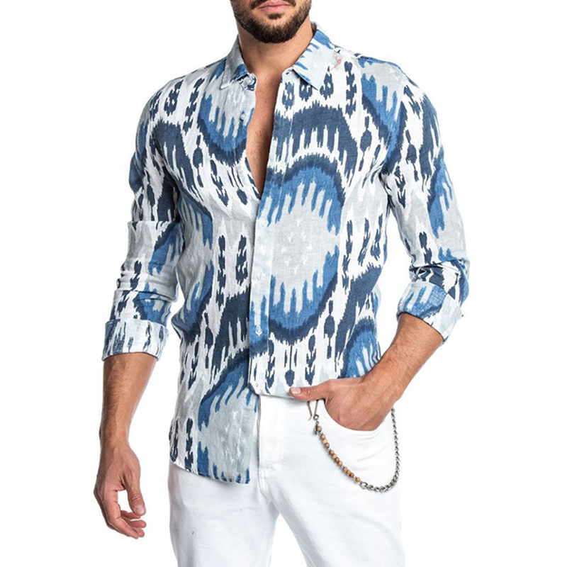 Hawaiian Men's Fashion Casual Social Printed Shirts Business Office Slim Fit Beach Male Button Lapel Neck Long Sleeve Clothing