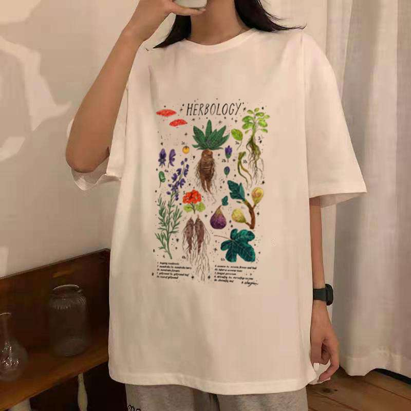 Gothic Harajuku T-shirt with vintage herbology print photo review