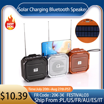 T7 Solar Charging Bluetooth Speaker Portable FM Radio Wireless Speaker Music Box Loudspeaker Outdoor Subwoofer Support TF Card 1